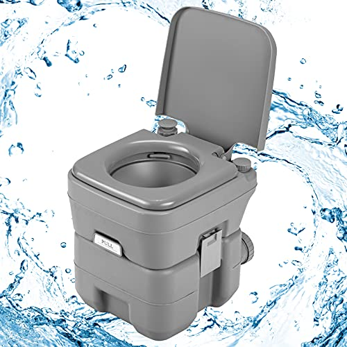Goplus WC Chimico Camper Toilette Portatile WC da Campeggio Viaggio Bagno Chimico Water Portatile Toilet 20 Litri (Grigio)