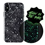 Wilma Be You iPhone X Case, iPhone Xs Case, Gazing Stars [Glow in The Dark] Slim Case Soft Plastic Protective Phone Cover Case for iPhone X (2017)/ iPhone Xs (2018) - Black