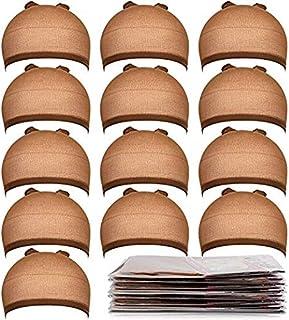 Teenitor 20 Pack Brown Stocking Cap Stretchy Nylon Wig Caps, Skin Tone Stocking Cap Wig..
