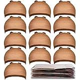 Teenitor 20 Pack Brown Stocking Cap Stretchy Nylon Wig Caps, Skin Tone Stocking Cap Wig Caps Application for Women Men-Brown
