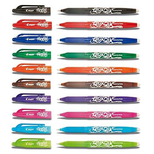 Pilot Frixion BL-FR7 Tintenrollerset, radierbar, 0,7-mm-Spitze, verschiedene Farben, 10 Stifte