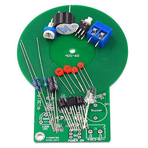 FinukGo Kit de práctica de Soldadura La Parte electrónica del Detector de Metales Produce Sonido y luz después de detectar el Kit del Detector electrónico - Negro