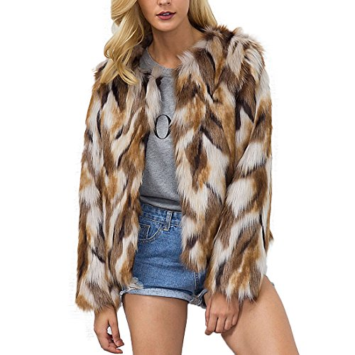Womens Winter Warm Colorful Faux Fur Coat Chic Hooded Jacket Cardigan Outerwear Tops for Party Club Cocktail (US 10 (Tag 3XL))