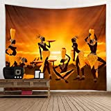 African Tribal Woman Orange Print Fabric Tapestry Decorative Wall Art Tablecloth Bedspread Picnic Blanket Beach Throw Blanket for Bedroom Hall Dormitory Living Room Hanging 79 x 59 inches