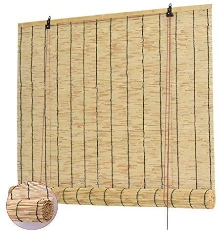 Cortina de caña natural, persianas romanas persianas de rodillo de ventana de lumbrera, ventana de bambú enrollable, hostales de sombrilla de sol 70% de elevación vertical Decoración, Anti-UV, persona