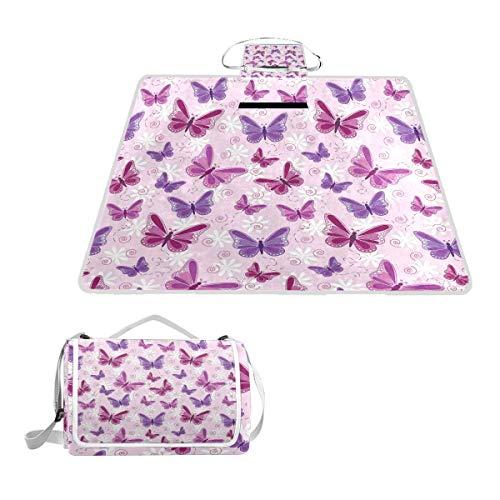 XINGAKA Couverture de Pique-Nique,Hippie Butterflies Fairy Colors Print,extérieure avec poignée Portable Tapis de Picnic pour Camping