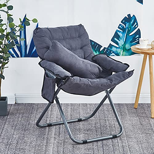 Folding Recliner with Pillow, Single Sleeper Chair Ergonomic Lounge Chair with Side Pocket Suitable for Office/Living Room/Bedroom (Gray)