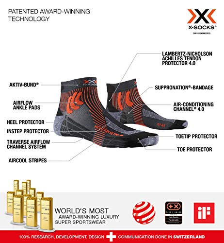 X-Socks Unisex – Adult Socken Strümpfe MARATHON RETINA  laufsocken sportsocken herren damen, stone grey melange/x-orange, 45/47, XS-RSR1S20U