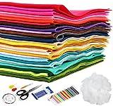 Homewit 30 Farben Filzstoff Super Weich, 40*30cm Bastelfilz Farbig Filz Blätter, Kinder Vliesstoff...