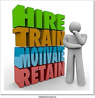 Barewalls Hire Train Motivate Retain Employee Retention Satisfaction Think Paper Print Wall Art (12in. x 12in.)
