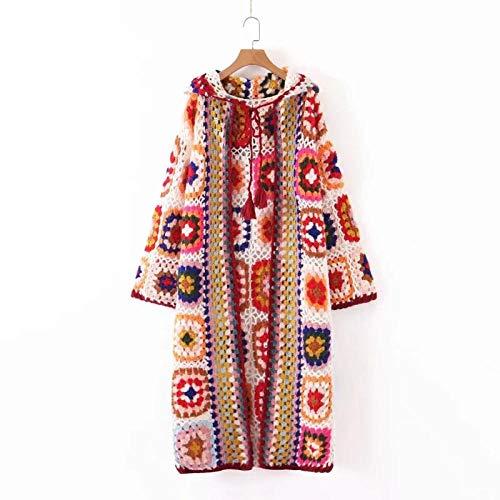 Chaqueta con Capucha de suéter de Manga Larga de Punto, Chaqueta de Punto con Frente Abierto de Invierno cálido, Rompevientos de Moda de Punto Largo para Mujer, F, Color