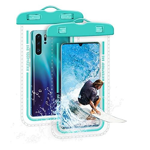 Funda impermeable para teléfono, aproximadamente 19 x 10,8 x 0,3 pulgadas, resistente al agua, material de plástico, resistente al agua, para buceo, natación, remo, actividades en la playa, etc.
