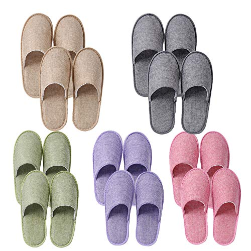 UILB 10 Pairs Disposable Home Slippers for Family Guests Hotels - Thickened Soles Linen Breathable Fabrics - Mixed Multi-Color Slippers Home Party, Housewarming Beige Product Name