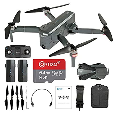 Contixo Quadcopter GPS Foldable 4K HD Camera Drones - 60 Minutes Longest Flight Time - Brushless Motors Drone with Camera for Adults - Extra 1 Battery 64GB SD Card Carrying Case