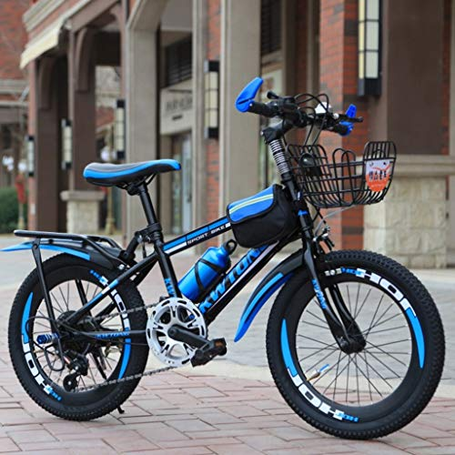 RXF Variable Speed Bicycle Balance Bike for Boys and Girls, 20 Inches, Outdoor Bike, Dual Brakes, 8-10 Years Old (Color : Blue)