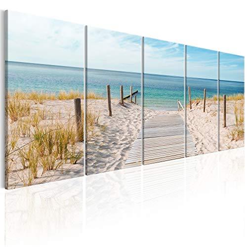 decomonkey Bilder Strand Meer 200x80 cm XXL 5 Teilig Leinwandbilder Bild auf Leinwand Wandbild Kunstdruck Wanddeko Wand Wohnzimmer Wanddekoration Deko Natur Landschaft