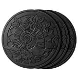 HF by LT Deluxe Rubber Stepping Stone, Snails Design, Heavy Duty 13-inch All-Weather Garden Tile, Black, Set of 3
