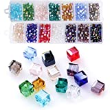 Cube Crystal Glass Beads, Wholesale Crystals Beading (Similar Cut #5601) Faceted Square Shape 4mm Lot 700pcs 14 Colors with Free Container Box,ZHUBI …