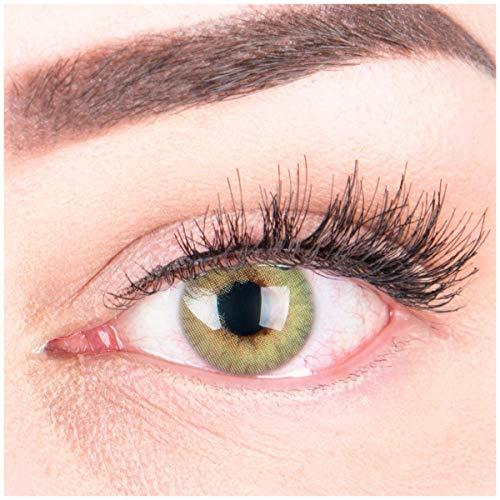 """Sehr stark deckende und natürliche grüne Kontaktlinsen SILIKON COMFORT NEUHEIT farbig """"Rose Green"""" + Behälter von GLAMLENS - 1 Paar (2 Stück) - DIA 14.00 - ohne Stärke 0.00 Dioptrien"""