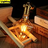 ZMH Lampadina Vintage Edison E27, LED Lampadina decorativa LED Diamond, 4W Retro Lampada F...