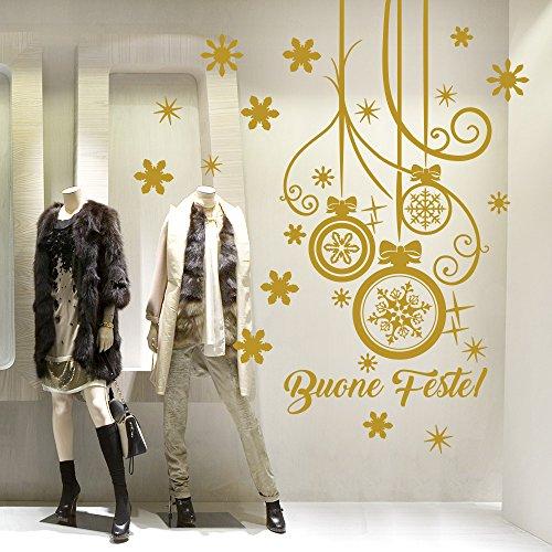 NT0339 Adesivi Murali - Pendente con fiocco - Vetrofanie natalizie - 60x120 cm - oro - Vetrine negozi per Natale, stickers, adesivi