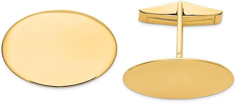 Solid 14k Yellow Gold Men's Oval Cufflinks - 23mm x 17mm