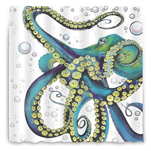 Meet 1998 Octopus Panel Blue Green Kraken Decor Waterproof Bathroom Fabric Shower Curtain Bath Curtain,54x78inch Small Stall Size