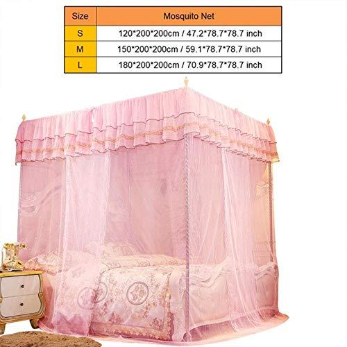 Piner Princess Drie open deuren Bedhemel Klamboe Tweepersoonsbed Beddengoed Bedgordijn, roze, 180x200x200cm