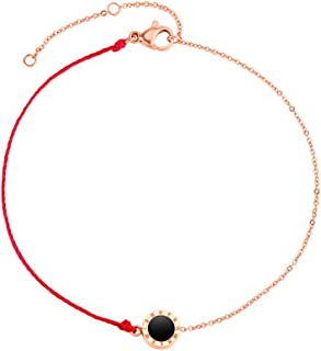 CXQ Fashion Temperament Feet Simple Half Rope Half Chain Rose Gold Foot Ring Jewelry Couple Accessories Gift (Color : Red)