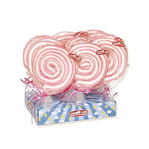 CASA DEL DOLCE Roller Pop Rosa, Marshmallow dal Sapore di Vaniglia, Confezione da 12 Pezzi, Incartati Singolarmente, Made in Italy, Senza Lattosio, Senza Glutine, Idee Regalo per Compleanni e Feste
