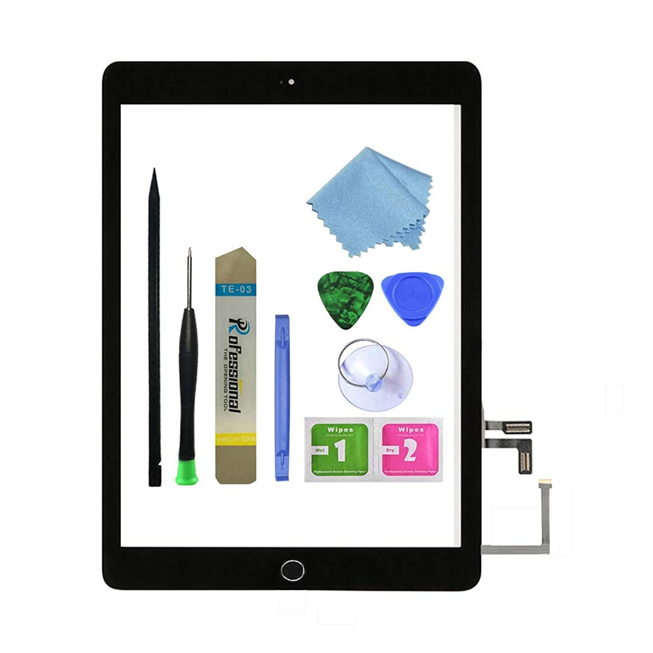 Zentop for Black iPad 5 2017 9.7 inch (A1822, A1823) Touch Screen Digitizer Assembly Replacement with Home Button, Camera Bracket, Pre-Installed Adhesive, Tool Repair Kit