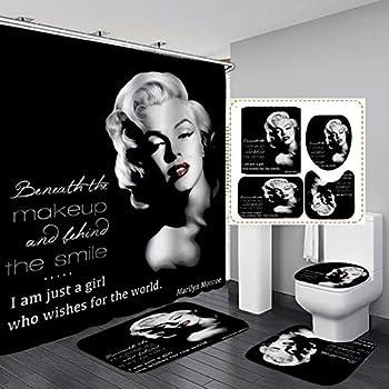 Fashion_Man 16PCS/Set Sexy American Woman Black Shower Curtain Elegant Marilyn Monroe Quote Bathroom Sets Waterproof Fabric Bath Curtain Non-Slip Bathroom Floor Mat Toilet Carpet I AM JUST A Girl