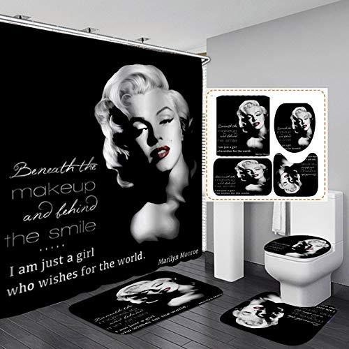 Fashion_Man 16PCS/Set Sexy American Woman Black Shower Curtain, Elegant Marilyn Monroe Quote Bathroom Sets, Waterproof Fabric Bath Curtain, Non-Slip Bathroom Floor Mat Toilet Carpet, I AM JUST A Girl