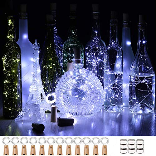 Unihoh Wine Bottle Lights with Cork, [12 Pack] 2M 20 LEDs Fairy Lights Battery Operated with Copper Wire String Lights for DIY Party Christmas Holiday Wedding Indoor Outdoor Decoration - Cool White