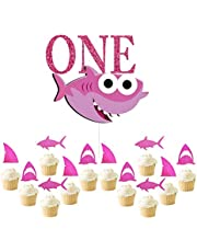 Glitter ONE Shark Cupcake Toppers Shark Themed Party Supplies Decorations Kids Baby Shower Birthday Favor-Pink
