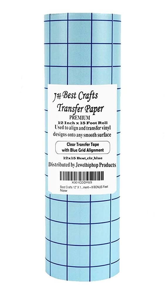 Transfer Paper for Vinyl - JH-Best Crafts 12 Inch X 15 Feet - Use for Cameo, Cricut, Self Adhesive Vinyl Signs, Stickers, Decals Windows Walls Vynil Transfer. Perfect Alignment with Blue Grids