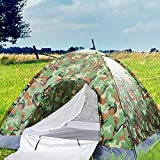 YUN JIN 2-4 Person Camping Tent,Large Waterproof Pop Up Tents,Single/Double Layer Instant Cabin Tent for Camping,Hiking,Outdoor Festivals,Car Trip (3-4 Person Single Layer Camouflage)