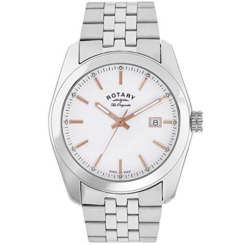 Rotary GB90110/06 - Reloj de Pulsera Hombre, Acero Inoxidable, Color Plateado