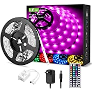 LE LED Strip Lights Kit, 16.4ft RGB LED Light Strips, Color Changing Light Strip with Remote Control, 12V Power Supply for Kitchen, Bedroom, and More, Non Waterproof