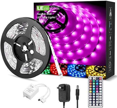 LE LED Strip Lights, 16.4ft RGB LED Strips, 5050 SMD LED Color Changing Strip Light with 44 Keys Remote Controller and 12V Power...