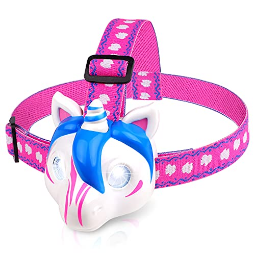 Kids Headlamp Flashlight - Unicorn Toys for Girls, Kids Camping Gear LED Headlight for Reading Camping Running, Ideal Birthday Christmas Gifts for Girls Boys- Battery Included
