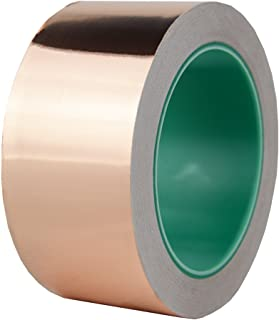 Hxtape Multi Size Choices Copper Foil Tape with Conductive Adhesive, 2 Inch Double-Sided Conductive Tape for Guitar & EMI Shielding, Slug Repellent, Crafts, Electrical Repairs, 2 inch(50mm) 66ft