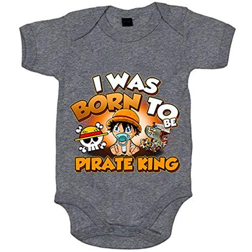 Body bebé I was born to be pirate Baby Monkey D Luffy king parodia One Piece - Rosa, 6-12 meses