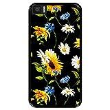 Hapdey Funda Negra para [ Bq Aquaris M5.5 ] diseño [ Patrón Floral, Flores Multicolores 2 ] Carcasa Silicona Flexible TPU