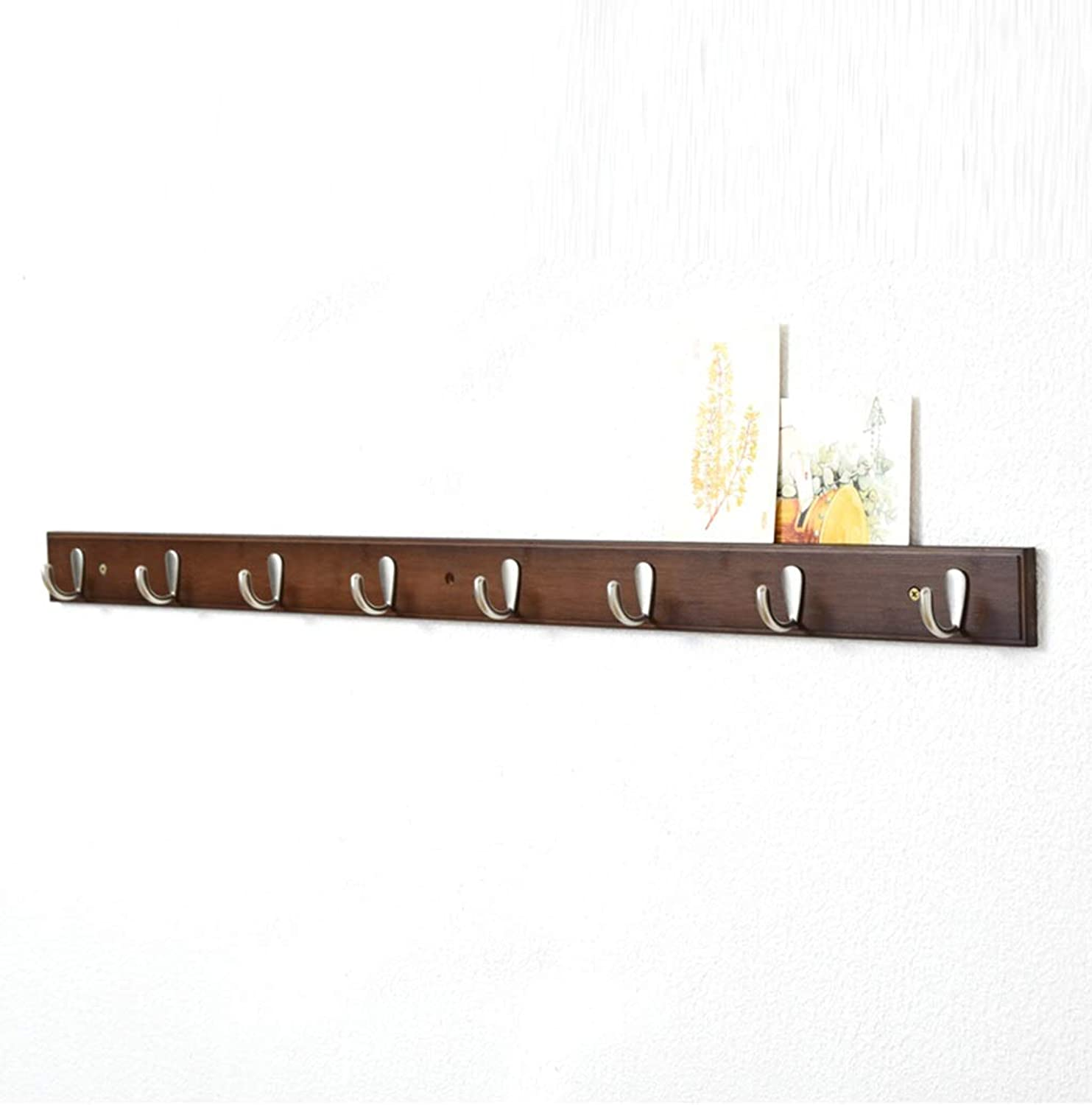 Brown Wooden Wall Mounted Coat Hook Rack Duty Wall Mount Coat Rack with Clothes & Hats in Hallway Bathroom Or Bedroom (Size   8 Hook)