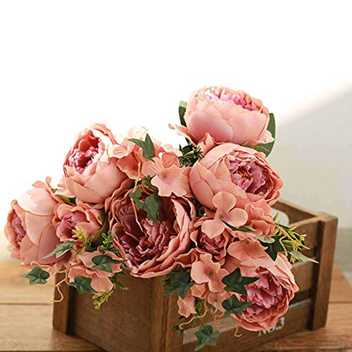 Efavormart 2 Bushes Blush/Dusty Rose Peony, Rose Bud and Hydrangea Artificial Silk Flower Bouquets for Wedding Home Floral Decor