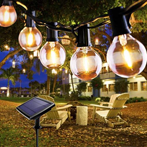 Lichterkette Außen, FOCHEA Lichterkette Glühbirnen 5.5m 10er LED Solar Lichterkette Außen Globe Birnen Lichterkette Garten 4 Modi für Patio Party Aussen Warmweiß