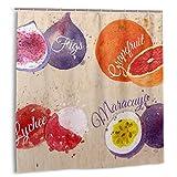 goodsaleA Duschvorhang,Obst-Set Gezeichnete Aquarell-Flecken & Flecken mit einem Spray Feigen,Grapefruit-Stoff Badezimmer-Dekor-Set mit Haken 180 cm x 180 cm