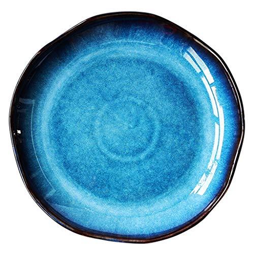 XIUXIU Céramique Western Assiette créative Ménage Assiette plate Assiette de collation Assiette irrégulière Assiette à dîner Assiette Cat's Blue Series (Taille : 21.5x2.6cm)