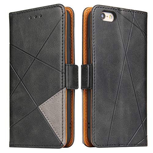 Lelogo Handyhülle für iPhone 6 Plus Hülle, iPhone 6s Plus Hülle, Lederhülle Handytasche Flip Hülle, Klapphülle Tasche Leder Schutzhülle für iPhone 6 Plus / 6s Plus (Schwarz)